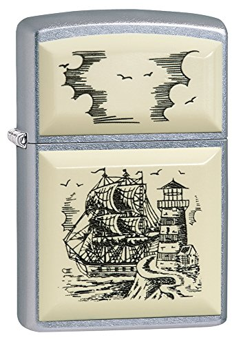 Zippo Scrimshaw Ship Pocket Lighter, Street Chrome