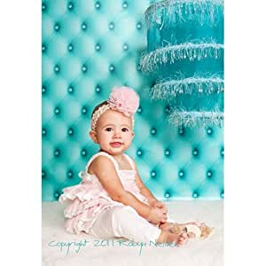 """Printed Photography Background Tufted Titanium Cloth TC506 Backdrop Teal Light Blue 5'x6' Ft (60""""x80"""") Better Then Muslin or Canvas"""