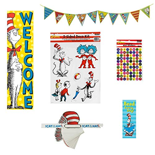 (Eureka Dr. Seuss Cat in the Hat School Teacher Classroom Set - Pennant Banner, Bookmarks, Stickers, Hats, Decorating Kit, and Welcome Banner )