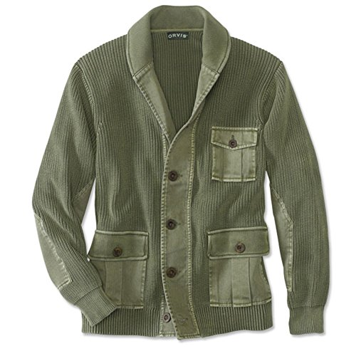 Orvis Men's Hawker Twill Cardigan Sweater, Olive Drab, Medium