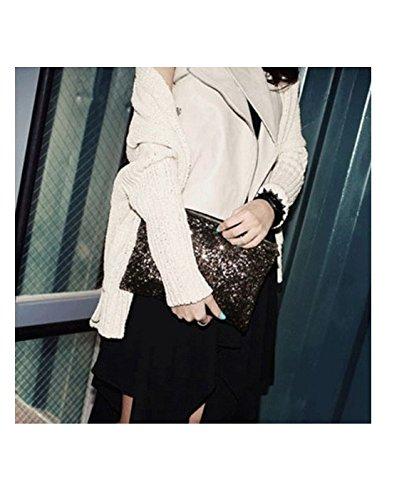 brillantes Negro con lentejuelas Bolso 16 vintage boda YOIL 6cm elegante o fiesta 25 para de mano negro THXn0q