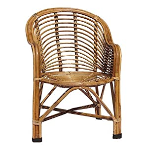 HM Service Bamboo Cane Chair with Cushion (Beige, Standard Size)
