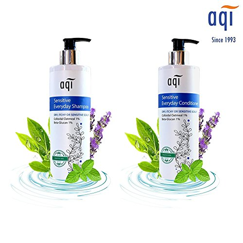 AQI Sensitive Scalp Bundle - Everyday Shampoo and Conditioner for Dry, Itchy and Sensitive Scalp Conditions - Deep Cleansing and Natural Moisturizing - Fragrance Free Gentle Hair Conditioner & Shampoo