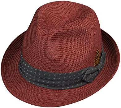 Broner Mens Connoisseur Pinch Front Straw Fedora with Contrast Color Dotted Band