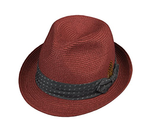 Broner Mens Pinch Front Fedora with Dotted Band, Burgundy, - Front Fedora Pinch