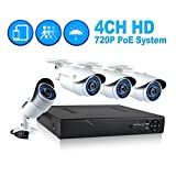 JOOAN 703NVR-4K 4CH NVR Kit 720P POE Camera System HD Security IP Camera System CCTV Monitor System Complete Surveillance Network Camera System Home Video Camera System