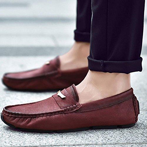 Verano Cuero Hombres Zapatos Rojo Los Suave De Genuinos Casuales Negocios Fondo 1fqx1XTw