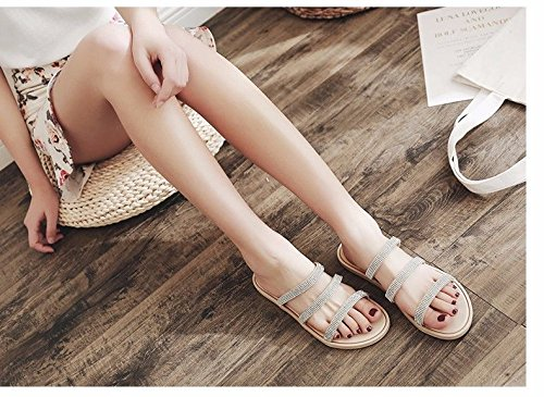 LIUXINDA proof skid soft Beige shoes fashion flat Cool slippers women's bottomed beach XZ and bottom British sandals fashionable aZgaqr