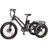Addmotor Motan Electric Tricycles 24 Inch Fat Tire Electric Bicycle Trike Three Wheel Ebikes 500W 10.4A Lithium Battery Rear Basket Cargo M-350 Ebikes With Supension Fork