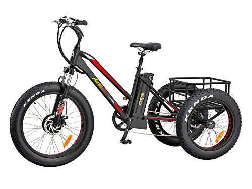 Addmotor Electric Tricycle 24 Inch Fat Tire Electric Bicycle Trike Three Wheel Bikes 500W 10.4A Lithium Battery Rear Basket Cargo Tricycle M-350 E-bike (Red)