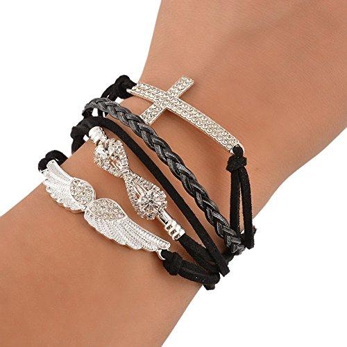 Leather Angel Wings (Polytree Women's Cross Angel Wings Rhinestone Braid Leather Charm Bracelet (Black))