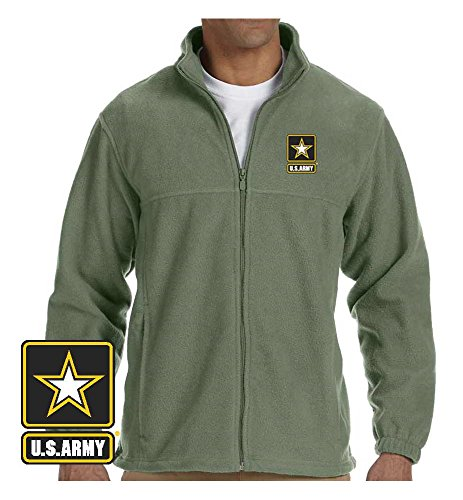 VetFriends.Com Officially Licensed US Army Logo Embroidered Fleece Jacket (X-Large, Sage) - Logo Fleece Jacket