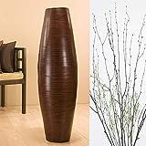 GreenFloralCrafts 47'' Bamboo Cylinder Floor Vase, Branches & Botanicals - Brown