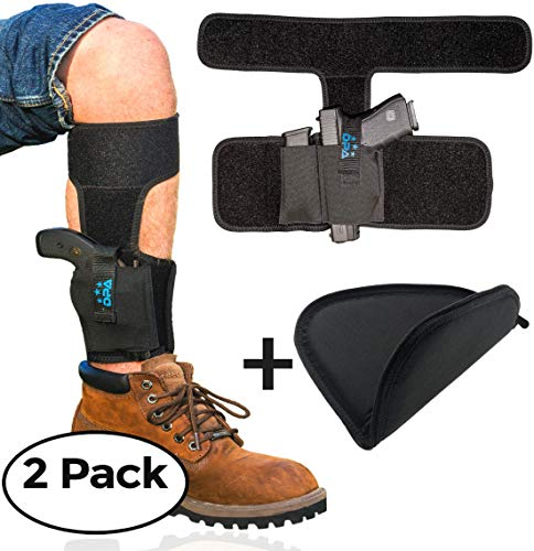 Ankle Holster For Concealed Carry with Handgun Rug Bundle | Neoprene, Universal, Pistol Leg Holster w/ Mag Pouch For Glock 19 26 43, S&W Bodyguard .380, M&P Shield, Ruger LCP/LC9, Sig Sauer, Walther ()
