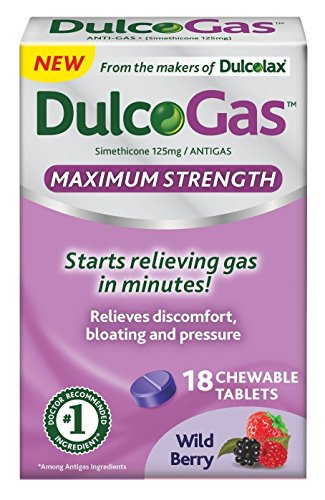 DulcoGas Maximum Strength Antigas Tablets, Wild Berry, 18 Count Box Chewable, Fruit-Flavored Gas Relief Tablets with Simethicone, Reliable Relief Starts in Minutes