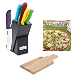 kitchen knives cuisinart ceramic - Cuisinart C59CE-C6P Ceramic Color 6-Piece Knife Set w/ Not Your Mother's Weeknight Cooking & HDS Trading CB01008 Cutting Board Bamboo 8 X 12 Bamboo Finish