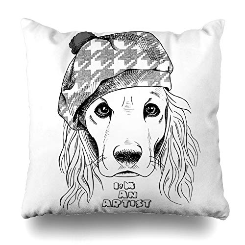 (Ahawoso Throw Pillow Cover Head Dog Cocker Spaniel Beret Hat Artist Basset Black Bow Cap Design Home Decor Pillow Case Square Size 20 x 20 Inches Zippered Pillowcase)