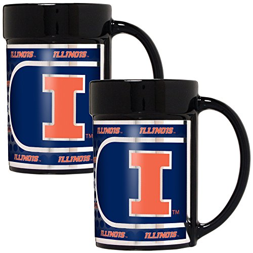 - Great American Products NCAA Illinois Illini Fighting Coffee Mug Set with Metallic Graphics (2-Piece), 15-Ounce, Black