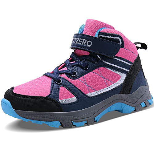 (Caitin Running Tennis Shoes for Kids Lightweight Outdoor Hiking Boots Athletic Sneakers Pink)