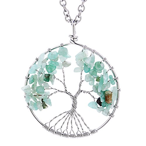 Eamaott Tree of life pendant Amethyst Rose Crystal Necklace Gemstone Chakra Jewelry Mothers Day Gifts (Mothers Day Gifts Cheap)