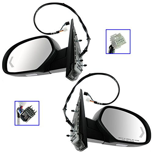 Mirror Power Folding Heated Memory Puddle Signal Textured Pair for GM Pickup SUV