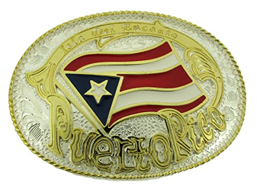 Puerto Rico Gold Silver Oval Rican Flag Bandera Puertorriquena New Belt Buckle.