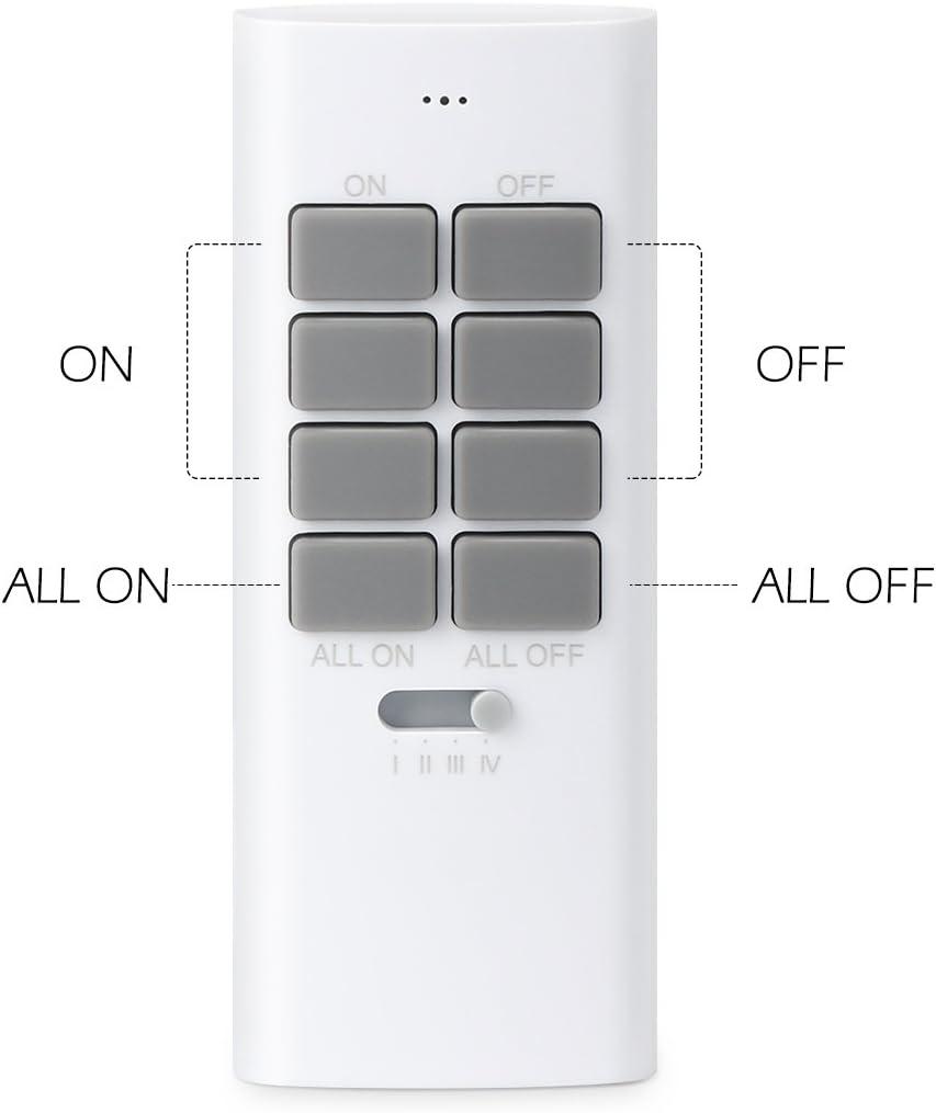 Fonction All ON//All OFF Piles Fournies Deux T/él/écommandes Incluses Lunvon Lot de 5 Prise T/él/écommand/ée Programmable Blanc Prise Electrique