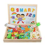 Kolly {Upgraded Material }Magnetic Jigsaw Puzzles Wooden Educational Toy Double Sided Drawing Board Alphabet for Kids Toddler 3 4 5 Years Old 110 Pieces (number)