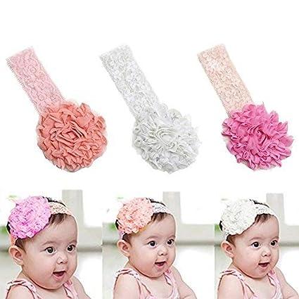 EQLEF® 3 pedazos de cinta bebé elástico de encaje lindo banda para el  cabello flor 5af59e171afe