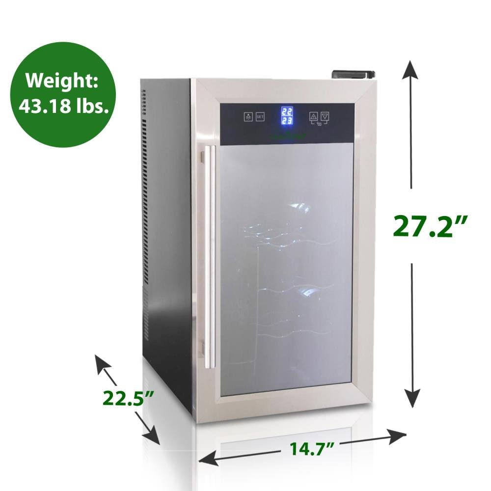 NutriChef Thermoelectric Wine Cellar - Red and White Wine Cooler- Dual Zone Wine Chiller - 18 Bottles Countertop Wine Refrigerator - LCD Display Digital Touch Controls – Great for Home or Events by NutriChef (Image #4)