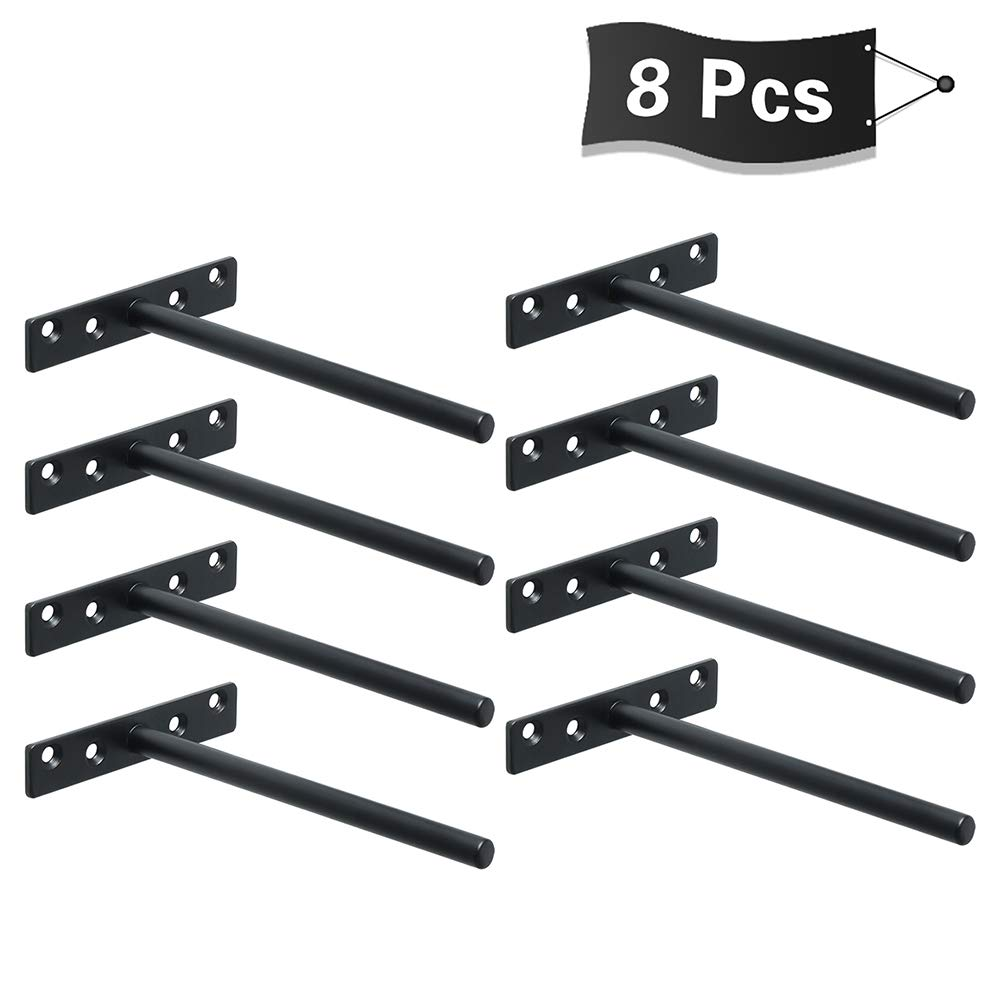 Alise 8 Pcs Stainless Steel Floating Shelf Bracket Heavy Duty Hidden Brackets Supports Blind Shelf Wall Mount 6-Inch,Matte Black Finish by Alise