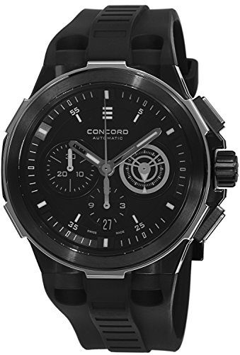 Concord C2 Automatic Chronogrph Men's Black Rubber Strap Swiss Made Watch 0320191 ()