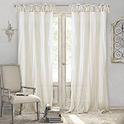 """Elrene Home Fashions Crushed Semi-Sheer Adjustable Tie Top Single Panel Window Curtain Drape, 52"""" x 84"""" (1, Ivory - Easy to maintain. Machine washable. Steam clean curtains occasionally to refresh the fabric and keep them looking crisp Good to go: wrinkle Free and easy to hang. These panels are all ready for you to put up right away. Adjustable tie top can fit up to 2 in. Rod What's included: one window panel - living-room-soft-furnishings, living-room, draperies-curtains-shades - 511YUCyIA%2BL. SS400  -"""