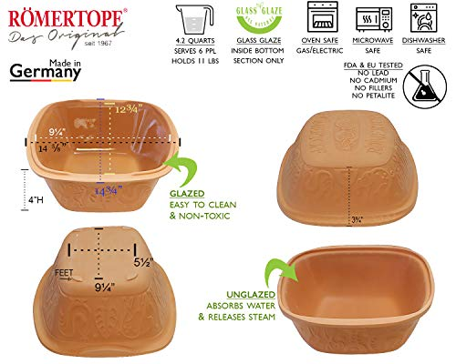 Romertopf by Reston Lloyd Classic Series Glazed Natural Clay Cooker, Large by Romertopf Germany (Image #3)
