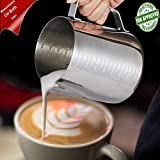 Milk Frothing Pitcher, CHANMOL Stainless Steel Coffee Milk Pitcher Creamer Frothing Measurement Both Sides - Perfect for Espresso Machines, Milk Frothers, Latte Art (30 Ounce/900milliliter)