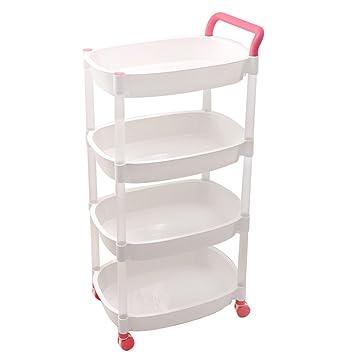 SUNLIGHTAM 4 Tier Rolling Storage Cart Baskets Shelving Utility Organizer Kitchen Trolley Racks