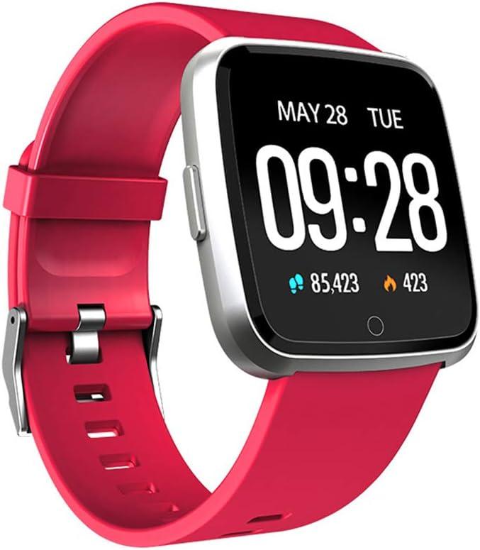 KLFD Y7 Reloj Inteligente con Rastreador Ejercicios Podómetro Caloría GPS para Deporte, Reloj Smart Sueño Pulsómetros Despertador Hombre Mujer,Rojo