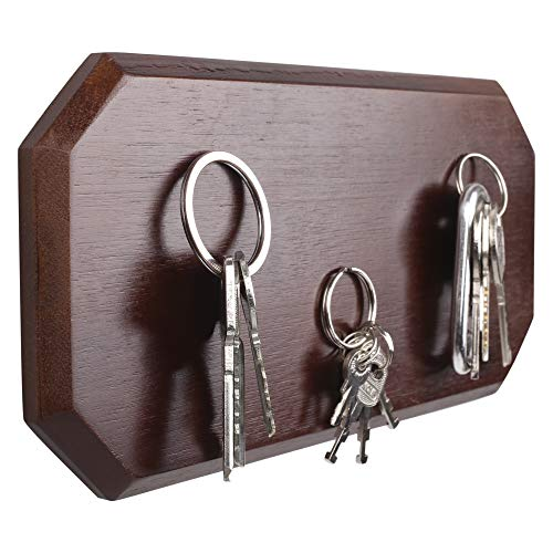Magnetic Key Holder for Wall or Fridge - Incredibly Strong Magnets Hold Your Heaviest Keychains - Modern Upgrade for Your Old Key Hook (Dark Brown)