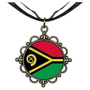 Chicforest Bronze Retro Style Vanuatu flag Round Flower Pendant