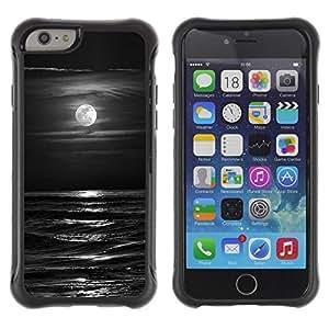 Suave TPU Caso Carcasa de Caucho Funda para Apple Iphone 6 / Waves Black White Moon Night / STRONG