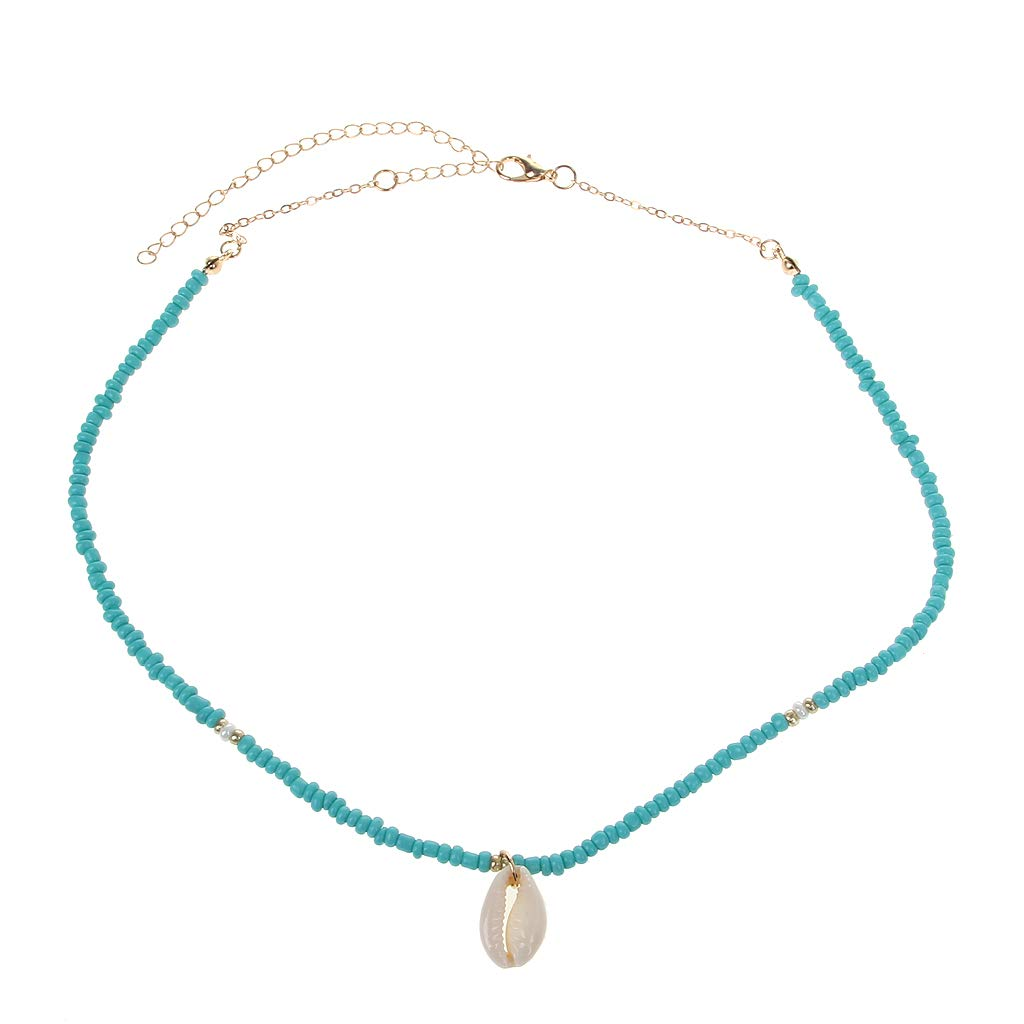 Baiyao Collier Tour De Cou Perl/é Turquoise R/églable Turquoise Perles Shell Pendentif Collier Bohemian Sea Beach Collier Bijoux