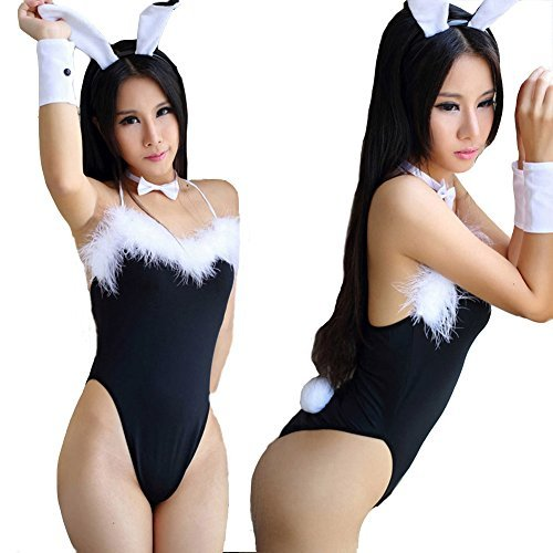 Chinatera Hot Sexy Lady Cosplay Feather Rabbit/Bunny Lingerie Uniform Jumpsuits Party Nightdress Sleepwear Suits Set: Jumpsuits, Hair Clasp, Wristband,Tie -