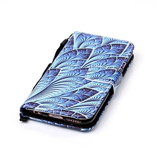 Custodia a portafoglio in vera pelle di alta qualità per iPhone SE, 5e 5S, con fessura portacarte, design creativo+ 1tappo anti polvere a fiore + 1penna stilo, Ecopelle Pelle, Three Owls, Apple iP Blue Leaf