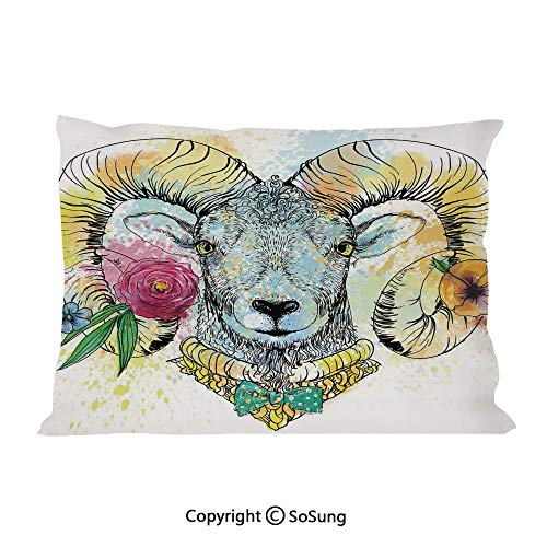 Quirky Decor Bed Pillow Case/Shams Set of 2,Ram with Horns and Blossoming Spring Flowers Bow Tie Dapper Fashion Art Decorative Queen Size Without Insert (2 Pack Pillowcase 30
