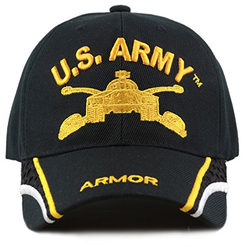The Hat Depot Official Licensed US Army 3D Military Gold Logo Baseball Cap With Mesh detail (Armor)