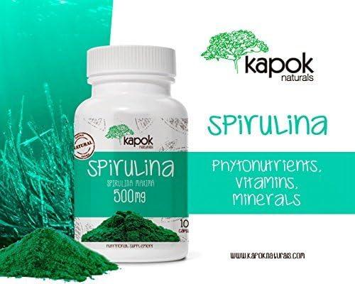 Kapok Naturals NonGMO Spirulina Capsules. 500mg Spirulina Powder. Vitamin B Boost Reduce Cholesterol. Algea Supergreen Spirulina Pills w Beta-Carotene, Iron Protein. 100 Spirulina Capsules 100