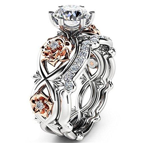 Dalaran Cubic Zirconia Rings Wedding Set Rose Ring Infinity Eternity Band for Women Solitaire Ring