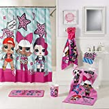 LOL Full Bathroom Set - Shower Curtain, Hooks, Hooded Towel, Foam Rug, Wastebasket, Bath Towel and Washcloth