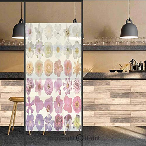 Red Etched Vases - 3D Decorative Privacy Window Films,Pattern of Vase Flowers Petunia Botanic Wild Orchid Floral Nature Art Decor,No-Glue Self Static Cling Glass Film for Home Bedroom Bathroom Kitchen Office 24x71 Inch
