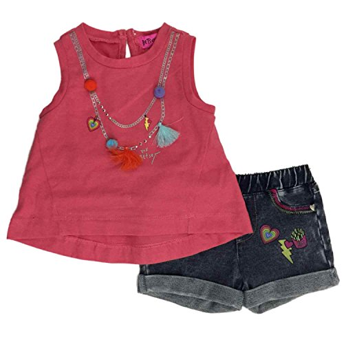 Betsy Johnson Infant Pink Rhinestone Tank Top Girls 2 Piece Jean Short Outfit